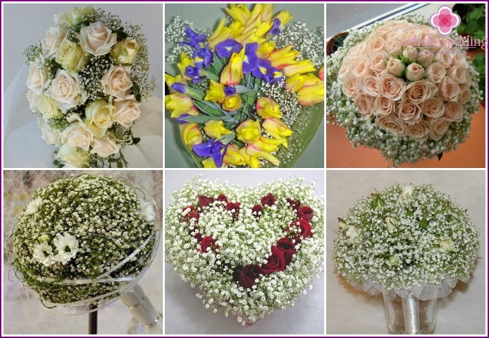 Examples of wedding bouquets with gypsophila