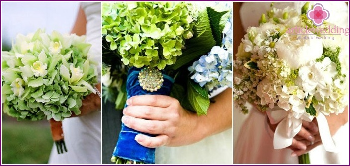 Options for a magnificent bouquet with hydrangeas