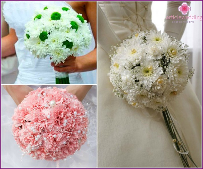 Varieties of chrysanthemums for a wedding bouquet