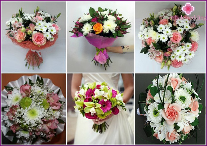 Chrysanthemums in a bouquet with roses and alstromeries