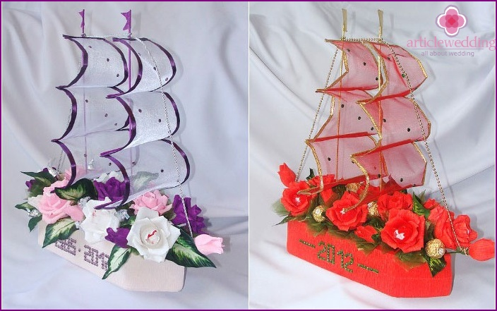 Wedding ship made of sweets