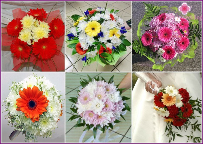 Wedding arrangement with chrysanthemums and gerberas