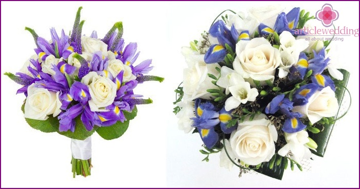 Roses in the iris bouquet of the bride