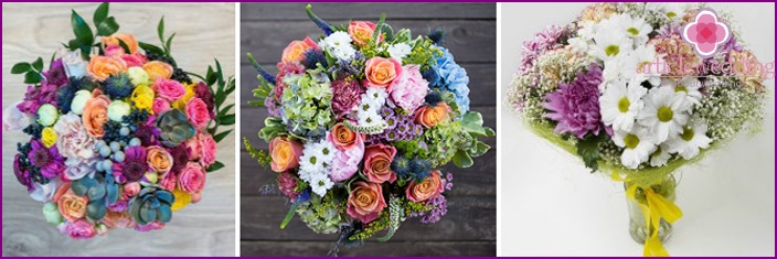 Bridal bouquet with chrysanthemums and carnations