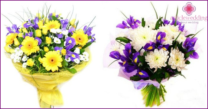 Gerberas and irises in the image of a bride