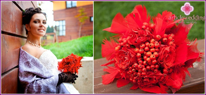 Mountain ash - decoration for a bouquet of roses