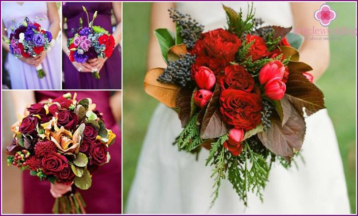 Color options for a wedding arrangement