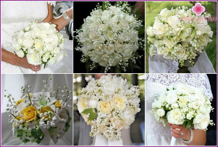 Lilies of the valley and roses in a bouquet for the bride