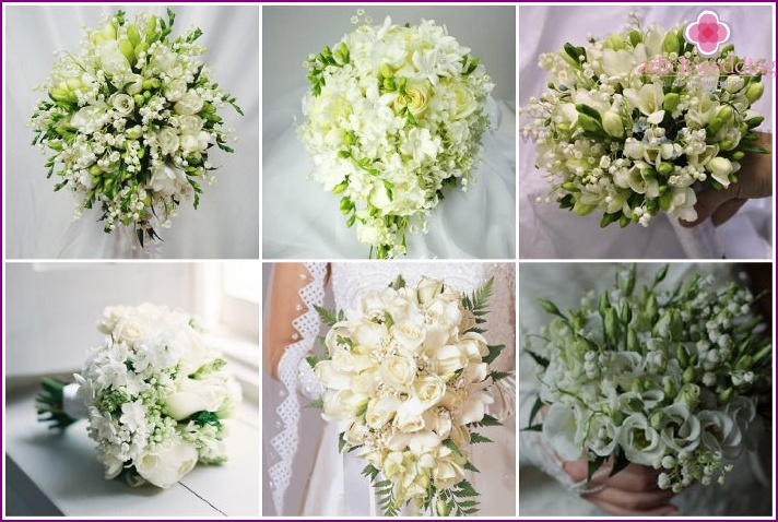 Bridal bouquet with freesia and lilies of the valley