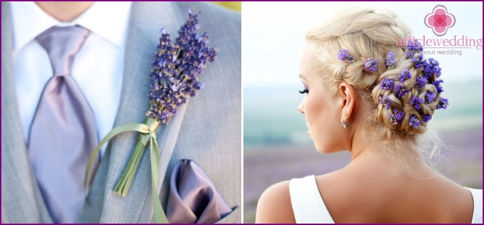 Groom's boutonniere with lavender