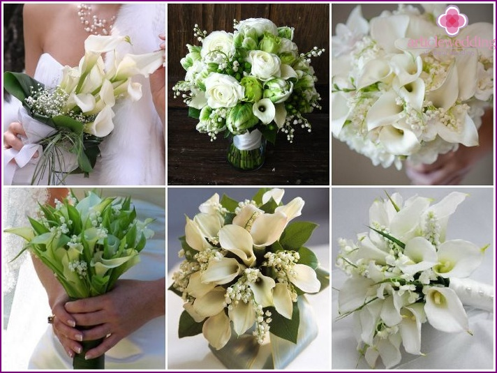Callas and lilies of the valley for a newlywed bouquet