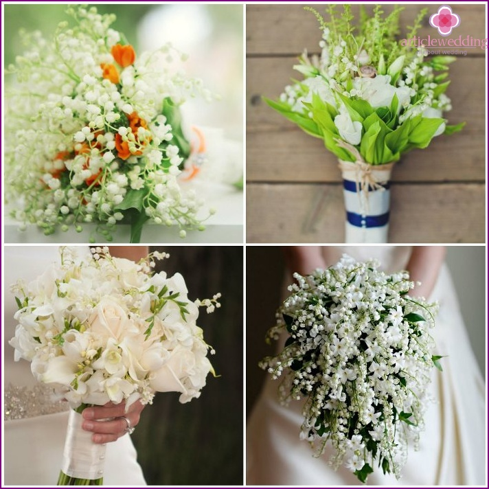 Lilies of the valley in a flower arrangement of a bride