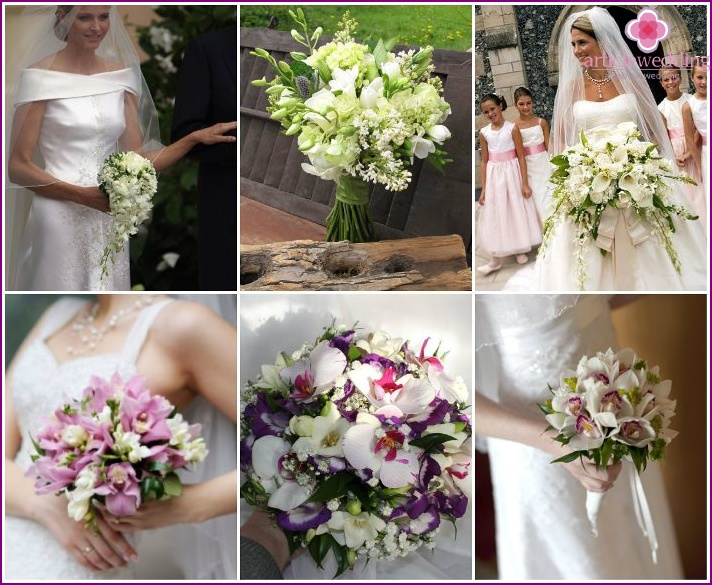 Phalaenopsis and freesia in a wedding bouquet