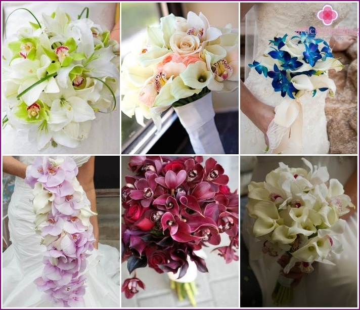 Bridal bouquet with phalaenopsis and callas