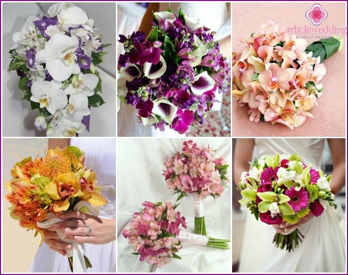 Bridal bouquet with orchids and alstroemeria