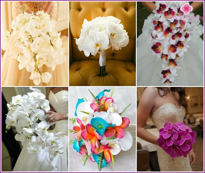 Wedding mono-bouquet with orchids