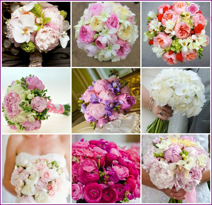 Wedding bouquets with freesia and orchids