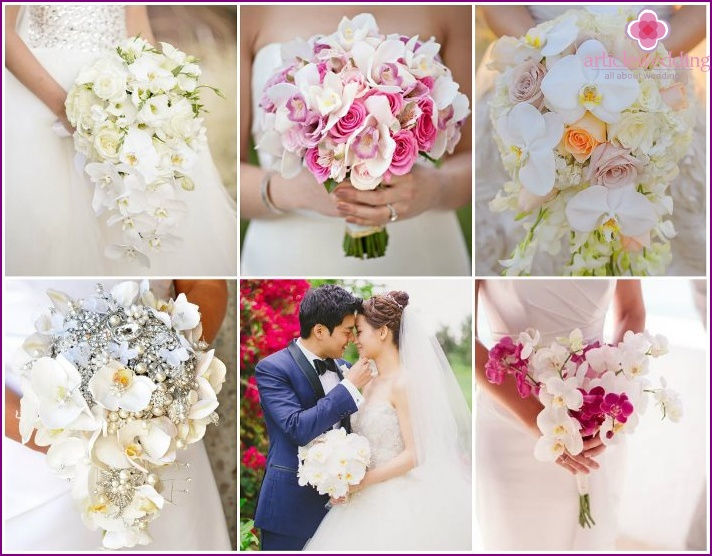 Wedding bouquets of delicate orchids