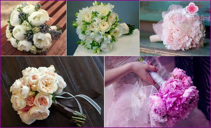 Peonies and peony roses in wedding bouquets