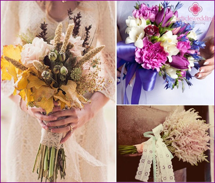 Decorated field bouquets for a wedding