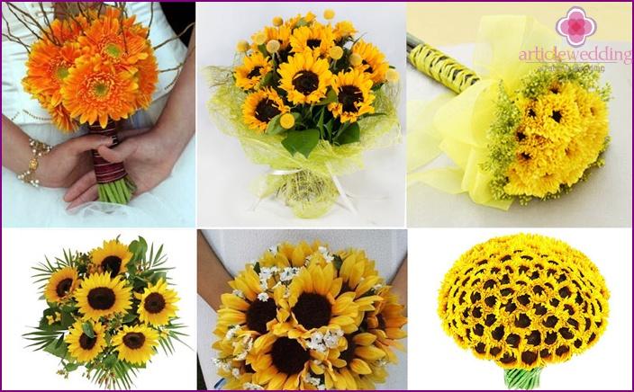 Golden sunflowers in monobouquet