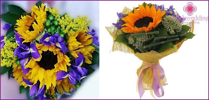 Composition of sunflowers with irises