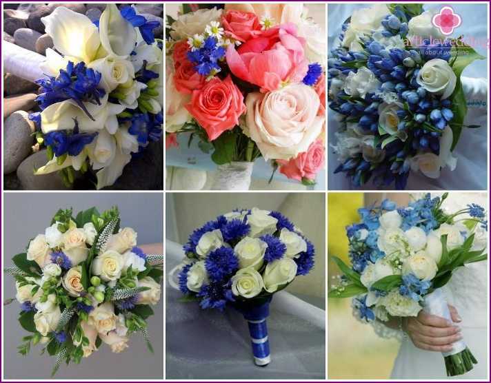 Roses with cornflowers for the bride
