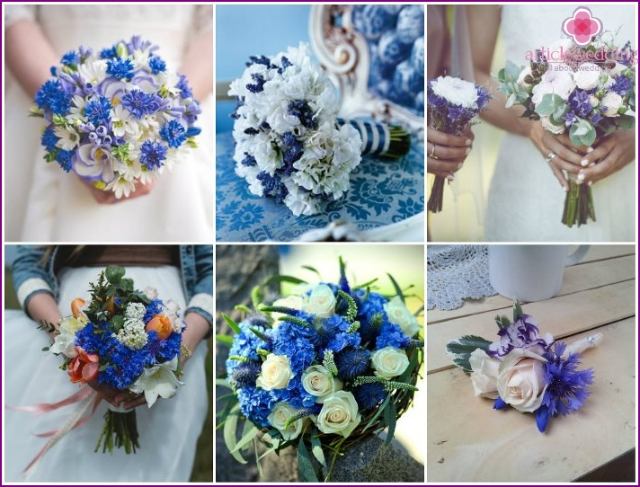 Field cornflowers in a newlywed's floral accessory