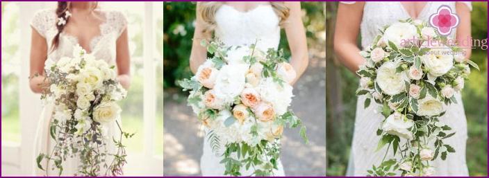 Falling white flower arrangements