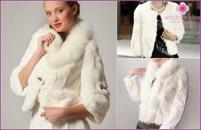 Beautiful rabbit fur coat for a wedding