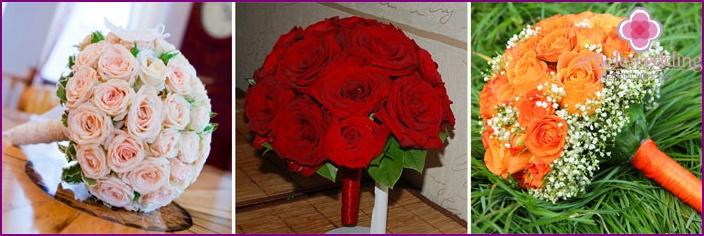 Floral arrangements for the bride and groom in portbuketnitsa