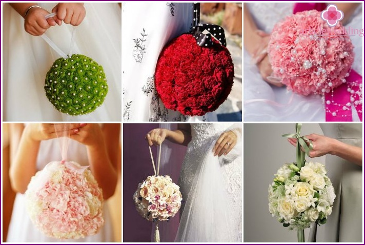 Bouquet in the shape of a ball for a wedding