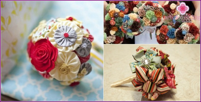 Bright options for a bouquet with a fabric
