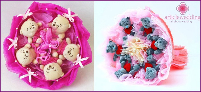 Original bouquets with toys