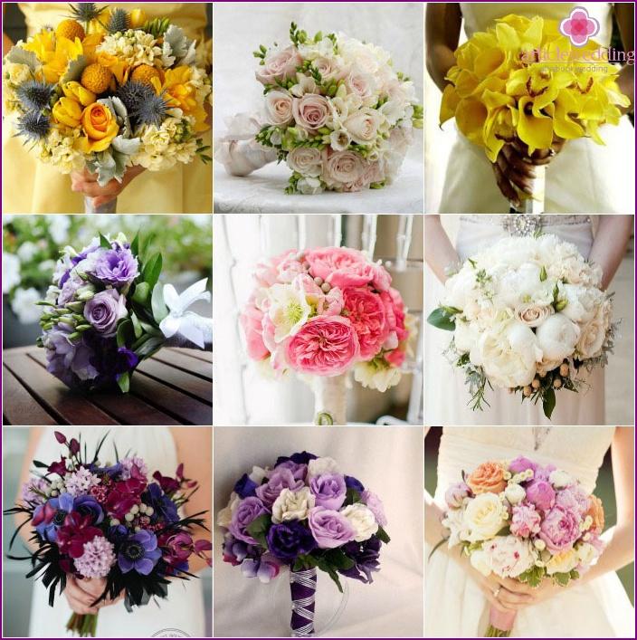 Blumensträuße für ein cremefarbenes Hochzeitskleid