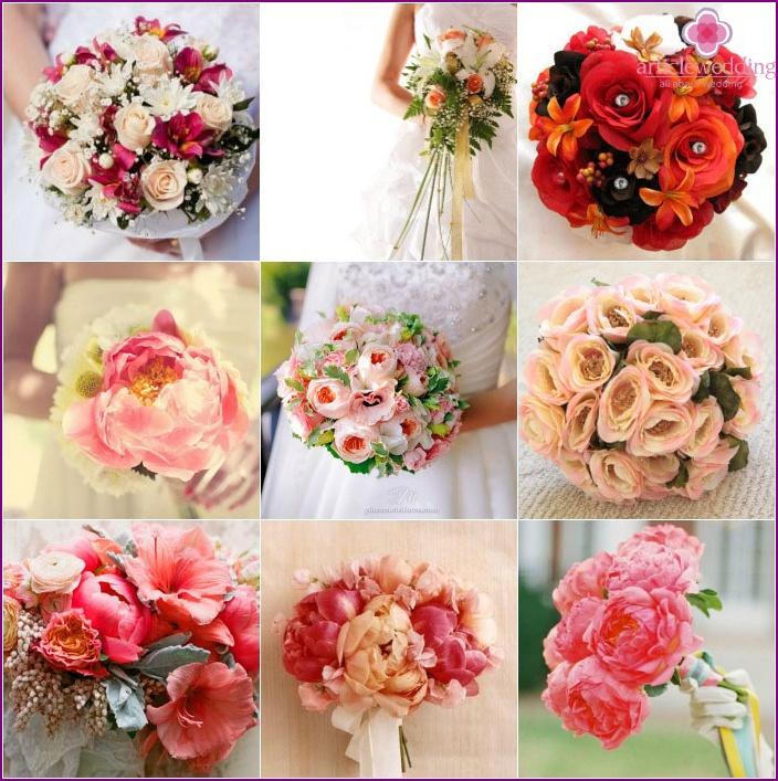 Hellrosa Blüten für die Braut: eine Kombination mit einem Blumenstrauß