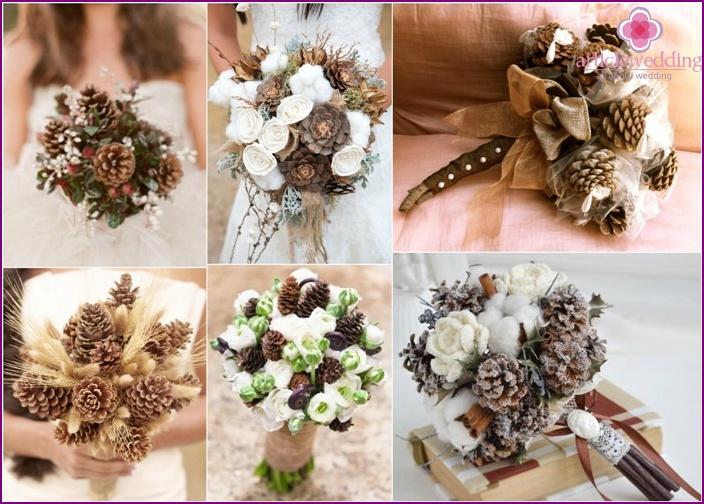 An original bouquet of cones for the bride