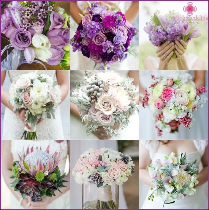 Blumensträuße für Elfenbeinpapierkleid