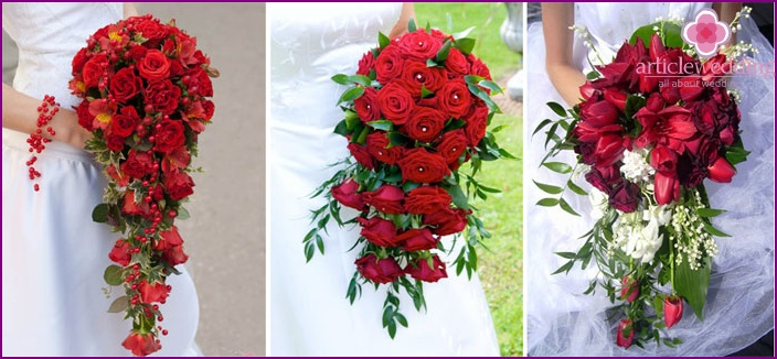 Red cascading wedding bouquet