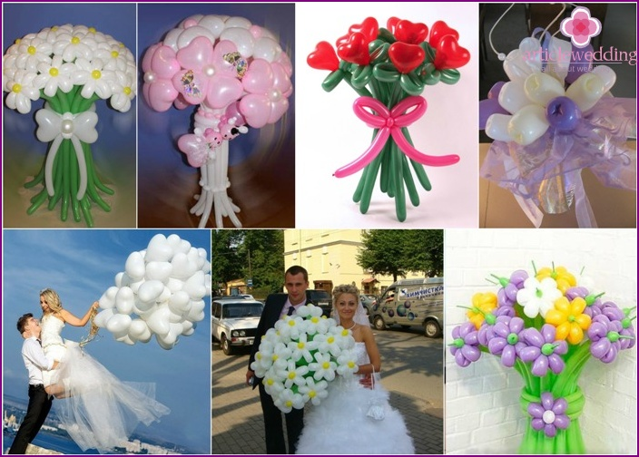 Balloons in a bridal bouquet