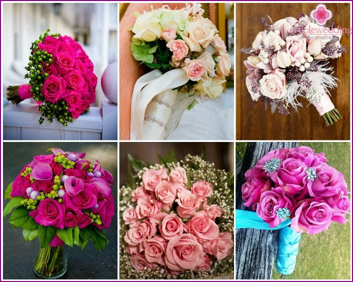 Pink roses for the bride