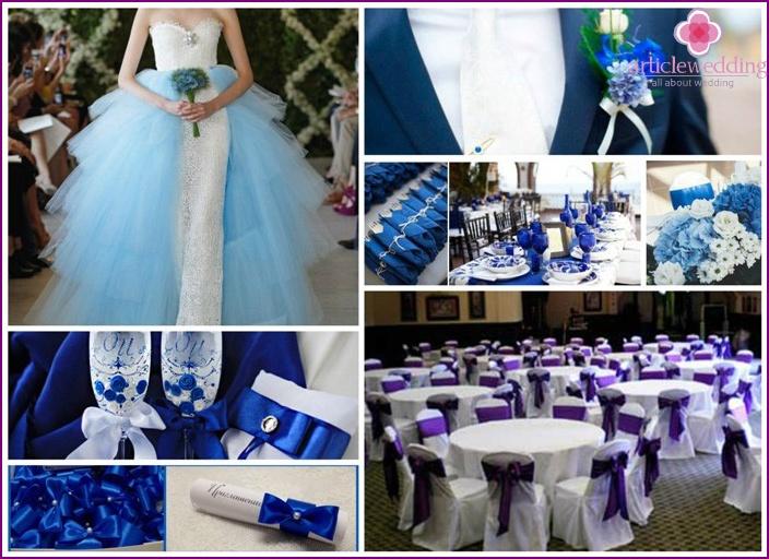Concetto di matrimonio generale con colore blu