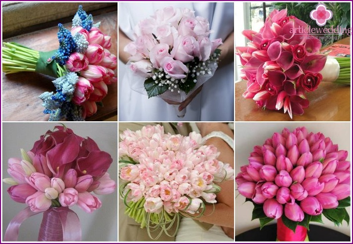 Pink tulips in a newlywed flower arrangement