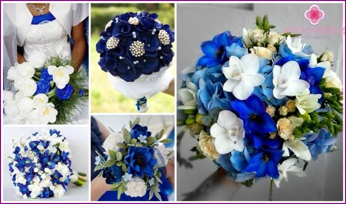La predominanza di fiori blu in un bouquet