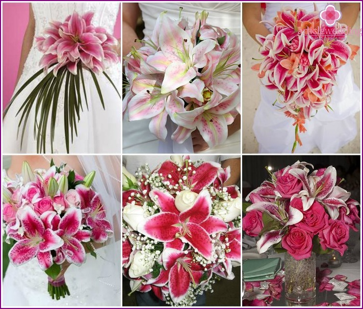 White and pink lilies in a newlywed bouquet