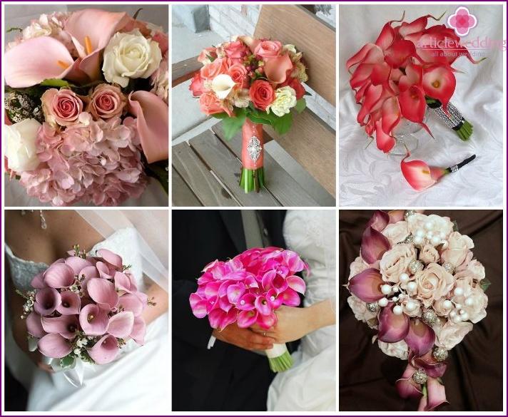 Pink callas for the bride