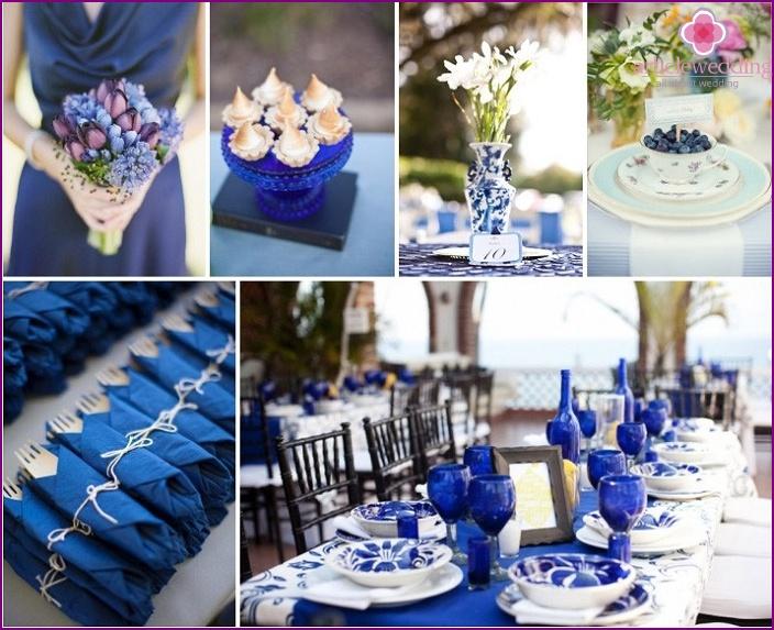 Weiß-blaue Farbe für eine ungewöhnliche Hochzeit