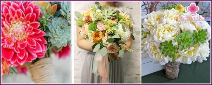 Bridal bouquet of dahlias and succulents