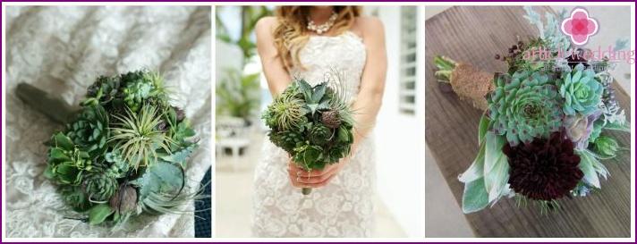 Assorted succulents in a newlywed wedding arrangement