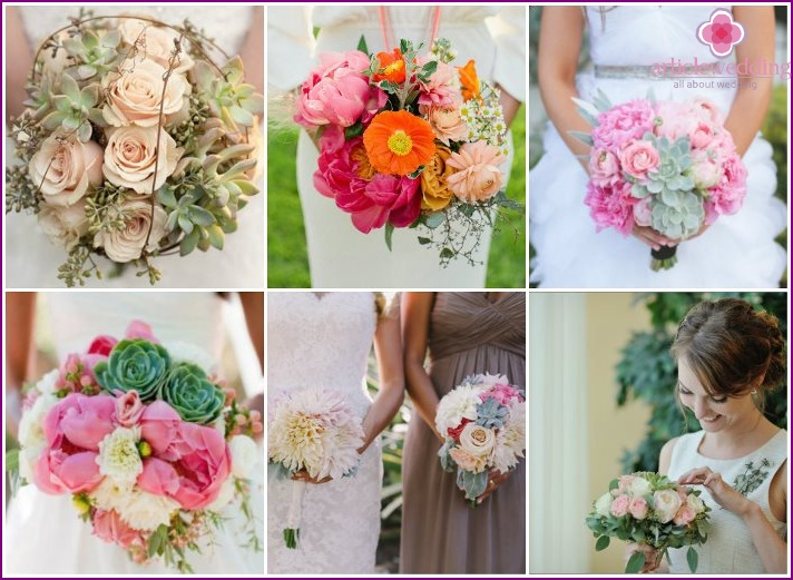 Bouquets with succulents for a wedding.